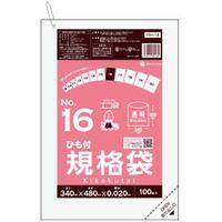 サンキョウプラテック ひも付規格袋16号100枚0.020mm厚 透明 FBH-16 1ケース(3000枚)(取寄品)