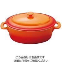 ミヤザキ食器 ソレイユ オーバルキャセロール S SO1813 オレンジ 1個 62-6678-18(直送品)