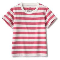 無印良品 インド綿天竺編みTシャツ ベビー100 ローズボーダー 良品計画