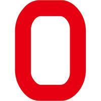 グリーンクロス カッティングステッカー 数字0 文字高100mm 赤 6300008234 1枚(直送品)