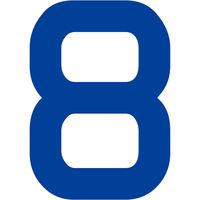グリーンクロス カッティングステッカー 数字8 文字高100mm 青 6300008278 1枚(直送品)