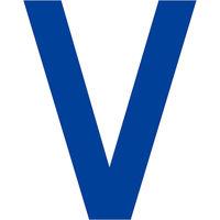 グリーンクロス カッティングステッカー 英字V 文字高100mm 青 6300008301 1枚(直送品)