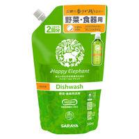 ハッピーエレファント 野菜・食器用洗剤 オレンジ&ライム 詰め替え 2回分 500ml 1個 サラヤ