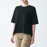 無印良品 太番手天竺編みクルーネック五分袖Tシャツ 無地 ボーダー 婦人 M~L 黒 良品計画