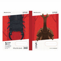 ショウワノート ジャポニカ学習帳 昆虫イラストシリーズ B5サイズ 5mm方眼ノート 十字リーダー入り/カブト&クワガタ・赤 JMS-5R(直送品)