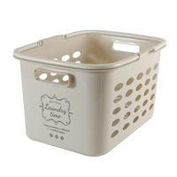 ランドリーバスケット 浅型 洗濯カゴ バスケット サンドベージュ(取寄品)