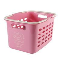 ランドリーバスケット 浅型 洗濯カゴ バスケット コーラルピンク(取寄品)