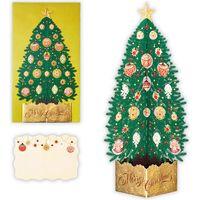 日本ホールマーク クリスマスカード 立体 レーザーグリーンツリー 794354 6枚(直送品)