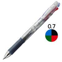 ゼブラ 油性ボールペン クリップ-オンスリム 4色 0.7mm 透明軸 B4A5-C 10本(直送品)