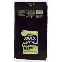 ジャパックス 業務用ポリ袋MAX 90L10枚 黒 厚み0.025mm 30冊入り S-92 1セット(300枚)(直送品)