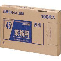 ジャパックス 業務用ポリ袋 45L100枚BOX 透明 厚み0.025mm 6BOX入り TN43 1セット(600枚)(直送品)