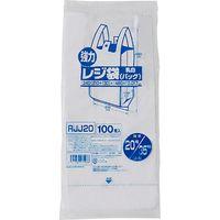 ジャパックス レジ袋(乳白) ベロ付きブロック 関東20号/関西35号 100枚 厚み0.017mm 40冊入り RJJ20 1セット(4000枚)(直送品)