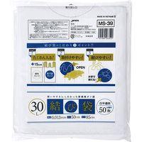 ジャパックス 結び袋 30L50枚(むすび部約150mm) 白半透明 厚み0.013mm 18冊入り MS39 1セット(900枚)(直送品)