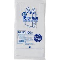 ジャパックス レジ袋(乳白) ベロ付きブロック 関東30号/関西40号 100枚 厚み0.018mm 30冊入り RJJ30 1セット(3000枚)(直送品)