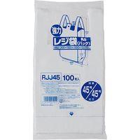 ジャパックス レジ袋(乳白) ベロ付きブロック 関東45号/関西45号 100枚 厚み0.023mm 20冊入り RJJ45 1セット(2000枚)(直送品)