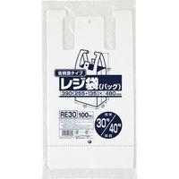 ジャパックス レジ袋(乳白)省資源 ベロ付きブロック・エンボス 関東30号/関西40号 厚み0.013mm RE30 1セット(3000枚)(直送品)
