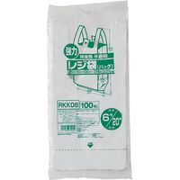 ジャパックス レジ袋(半透明) ベロ付きブロック 関東6号/関西20号 100枚 厚み0.012mm 80冊入り RKK06 1セット(8000枚)(直送品)