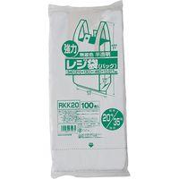 ジャパックス レジ袋(半透明) ベロ付きブロック 関東20号/関西35号 100枚 厚み0.017mm 40冊入 RKK20 1セット(4000枚)(直送品)