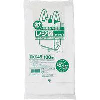 ジャパックス レジ袋(半透明) ベロ付きブロック 関東45号/関西45号 100枚 厚み0.023mm 20冊入 RKK45 1セット(2000枚)(直送品)