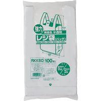 ジャパックス レジ袋(半透明) ベロ付きブロック 関東60号/関西50号 100枚 厚み0.03mm 10冊入り RKK60 1セット(1000枚)(直送品)