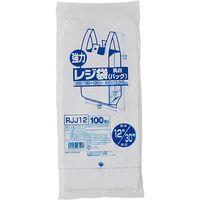 ジャパックス レジ袋(乳白) ベロ付きブロック 関東12号/関西30号 100枚 厚み0.015mm 60冊入り RJJ12 1セット(6000枚)(直送品)