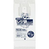 ジャパックス レジ袋(乳白)省資源 ベロ付きブロック・エンボス 関東8号/関西25号 厚み0.011mm RE08 1セット(8000枚)(直送品)
