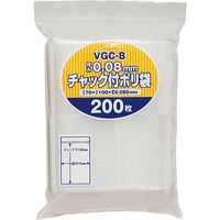ジャパックス チャック袋付ポリ袋厚口 200枚 透明 厚み0.08mm 35冊入り VGC-8 1セット(7000枚)(直送品)