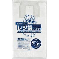 ジャパックス レジ袋(乳白)省資源 ベロ付きブロック・エンボス 関東60号/関西50号 厚み0.018mm RE60 1セット(2000枚)(直送品)