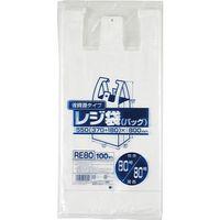 ジャパックス レジ袋(乳白)省資源 ベロ付きブロック・エンボス 関東80号/関西80号 厚み0.02mm RE80 1セット(1000枚)(直送品)