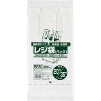 ジャパックス レジ袋(半透明)省資源 ベロ付きブロック・エンボス 関東20号/関西35号 厚み0.011mm RF20 1セット(6000枚)(直送品)