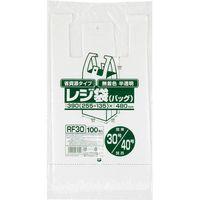 ジャパックス レジ袋(半透明)省資源 ベロ付きブロック・エンボス 関東30号/関西40号 厚み0.013mm RF30 1セット(3000枚)(直送品)