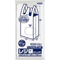 ジャパックス レジ袋(乳白)省資源ブロックなしベロ付きタイプ(エンボス)関東20号/関西35号 厚み0.011mm RC20 1セット(6000枚)(直送品)