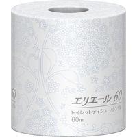 【ホテル向けペーパー製品】大王製紙 エリエール トイレットティシューシングル60m 個包装 1箱(80ロール入)(直送品)