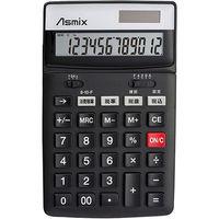 アスカ 消費税電卓チルト ブラック C1236BK(直送品)