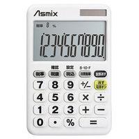 アスカ 消費税電卓デカ文字 ホワイト C1012W(直送品)
