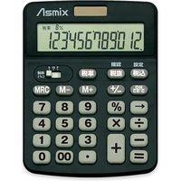 アスカ 消費税電卓カラー ブラック C1231BK(直送品)