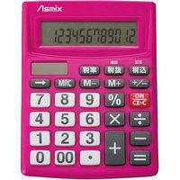 アスカ ビジネス電卓 ピンク C1234P 2台(直送品)