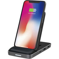 ロア・インターナショナル HyperDrive 8in1 USB-C Hub + Qi Wireless Charger Stand HP15578(直送品)