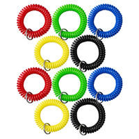 デコール工業 カールコード式ロッカーキーバンド アソート 1セット(5色×2個、10個入)(直送品)