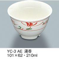 三信化工 湯呑 強化磁器 赤絵 YC-3-AE 1セット(5個入)(直送品)