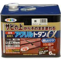アサヒペン AP 油性高耐久アクリルトタンα 6KG 黒 9018286(直送品)