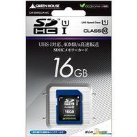 グリーンハウス SDHCメモリーカード UHSーI クラス10 16GB GH-SDHCUA16G 1枚  (直送品)