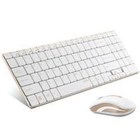ユニーク 2.4GHz ワイヤレスキーボード&マウス rapoo 9160 ホワイト&ゴールド 9160 1個  (直送品)