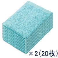 少し厚手のおしぼりタオル ブルー 0003 丸眞 2パック(10枚入×2)