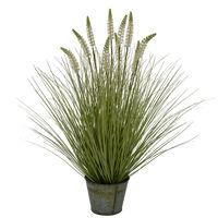 萩原 ホワイトラベンダーグラス 高さ約76cm BUCKET 光触媒加工付き 人工観葉植物 1鉢 (直送品)