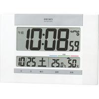 SEIKO(セイコークロック) 快適度表示付電波時計 [電波 掛け/置き カレンダー 温度・湿度 時計] SQ429W 1個 (直送品)