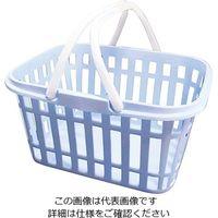 燕物産 ニューストライプバスケット ブルー 1個 3-6074-02 (直送品)