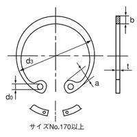 オチアイ(OCHIAI) 穴用C形止め輪 RTW-165 SR 1セット(4個)(直送品)