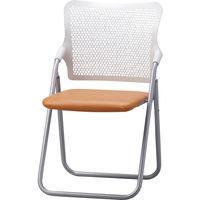 サンケイ 折りたたみ椅子 S-FITハイバック 座:オレンジ(ビニールレザー) 2脚セット (直送品)
