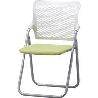 サンケイ 折りたたみ椅子 S-FITハイバック 座:グリーン(ビニールレザー) 2脚セット (直送品)